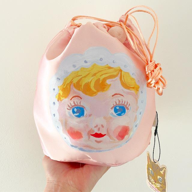 Nathalie Lete Drawstring bag  CHARMY pink ナタリーレテ チャーミー巾着バッグ