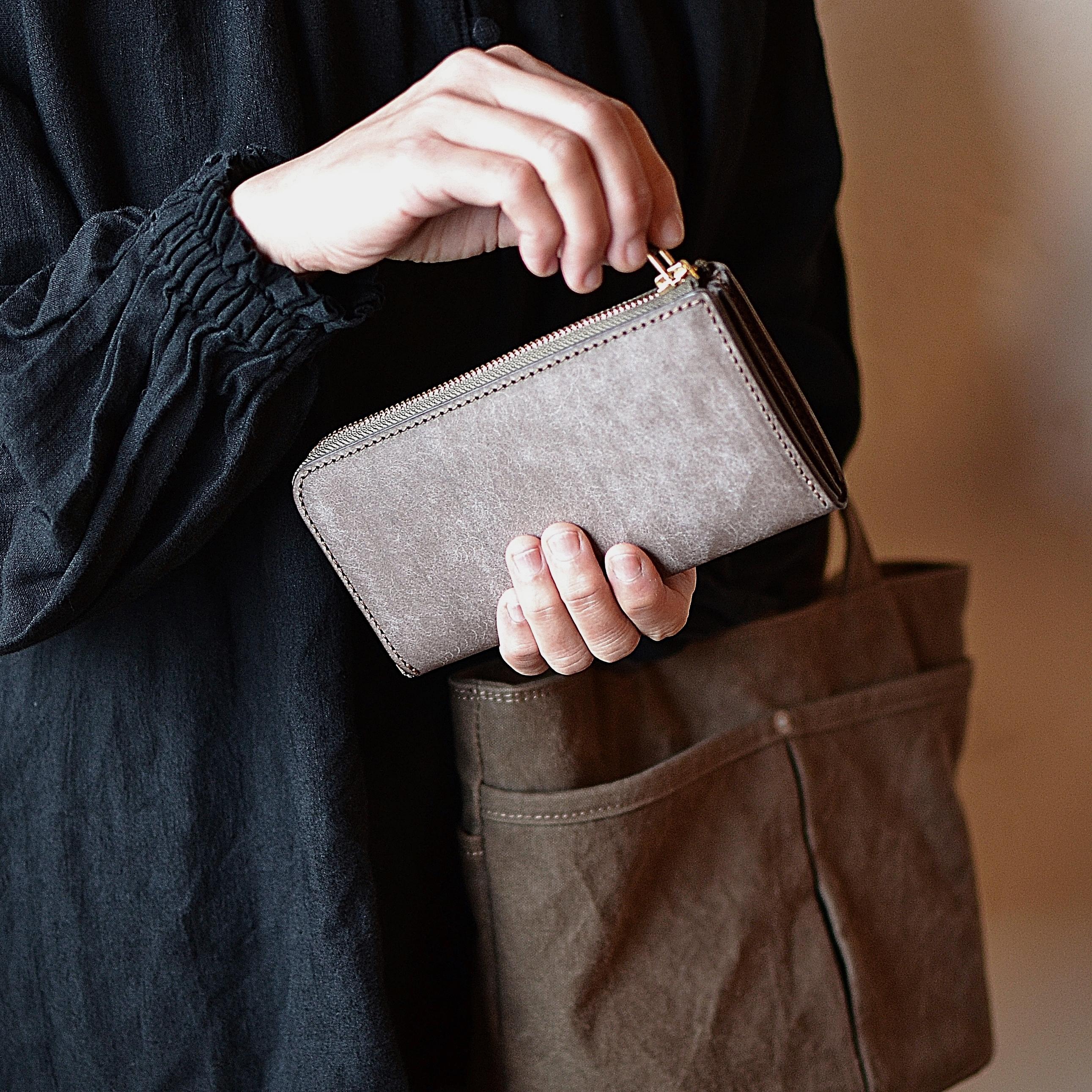 少しこぶりな長財布「ティオ・グレー」