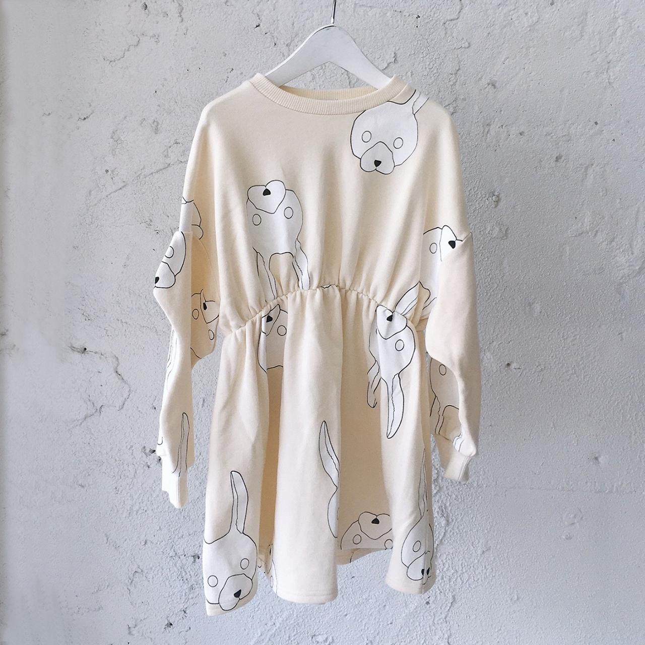 WAIST GATHER SWEAT DRESS / LL