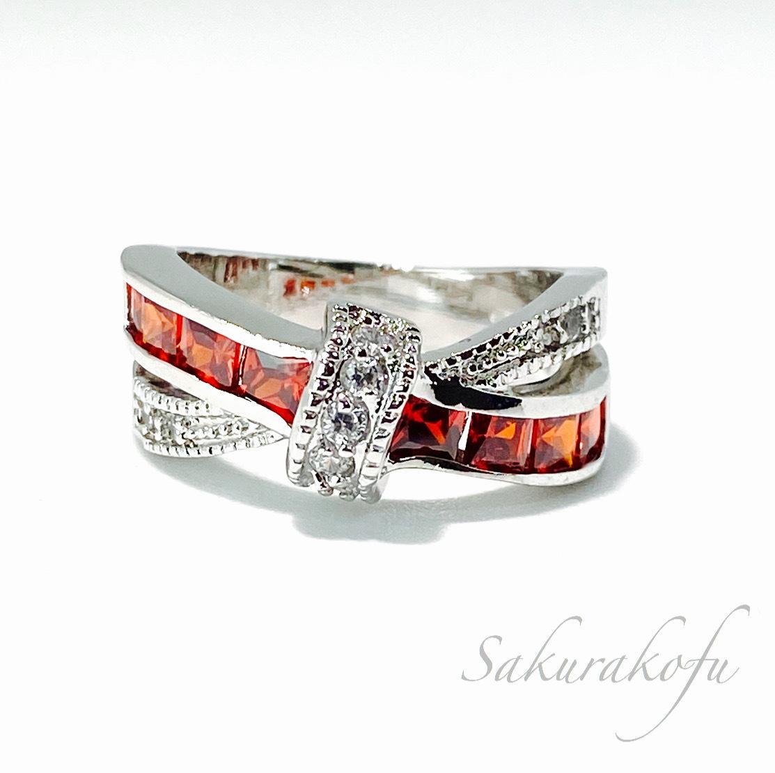 D013A レディース 指輪 ガーネット キュービックジルコニア クロスリボン Cross Ribbon Garnet Ring