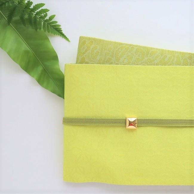 【半巾帯】黄色 麻の葉×ヒョウ リバーシブル