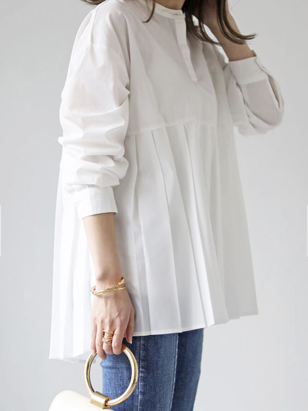 プリーツ切り替えシャツ[Color:ホワイト]