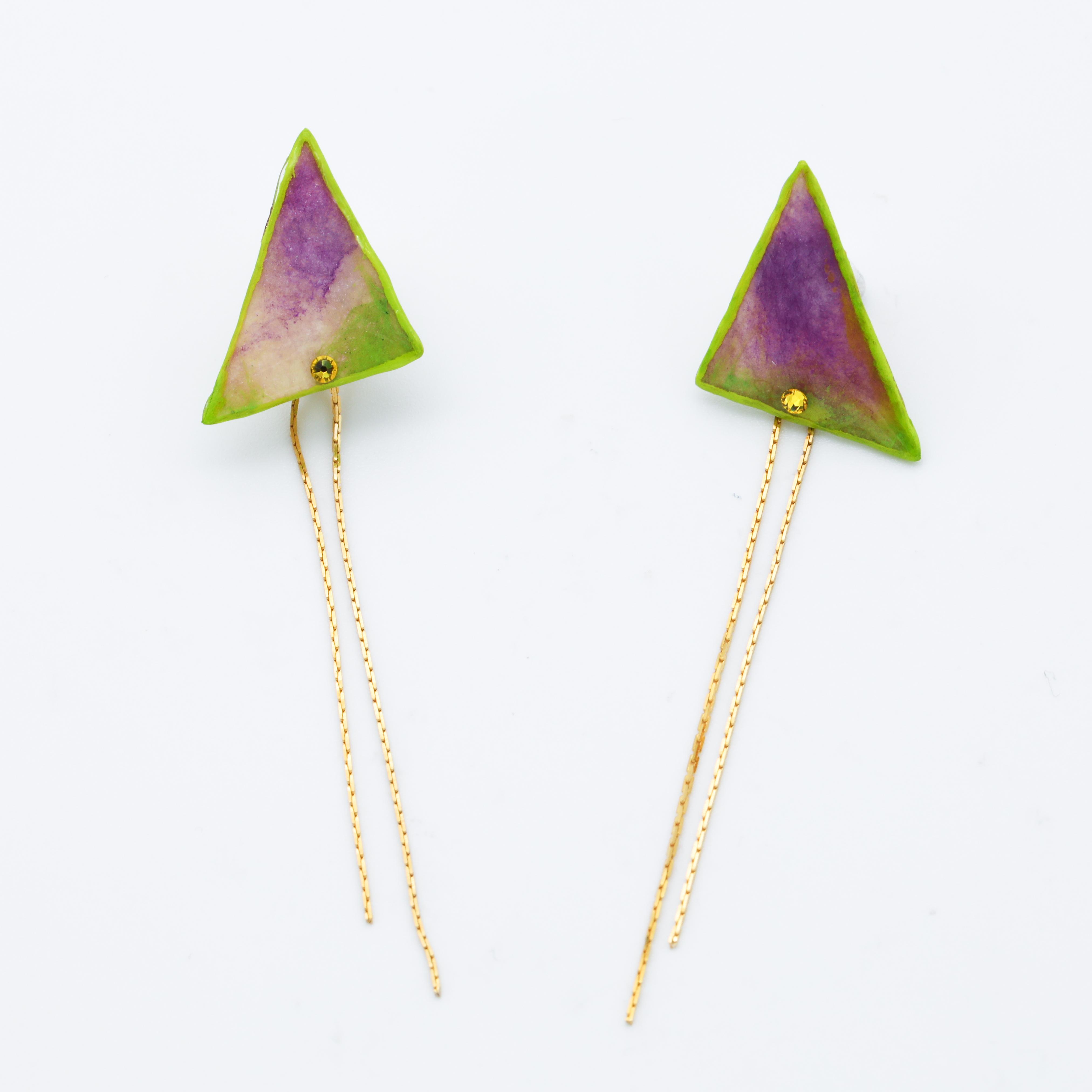 """""""Colorful"""" japanesepaper pierced earrings  ◼︎yellowgreen purple"""