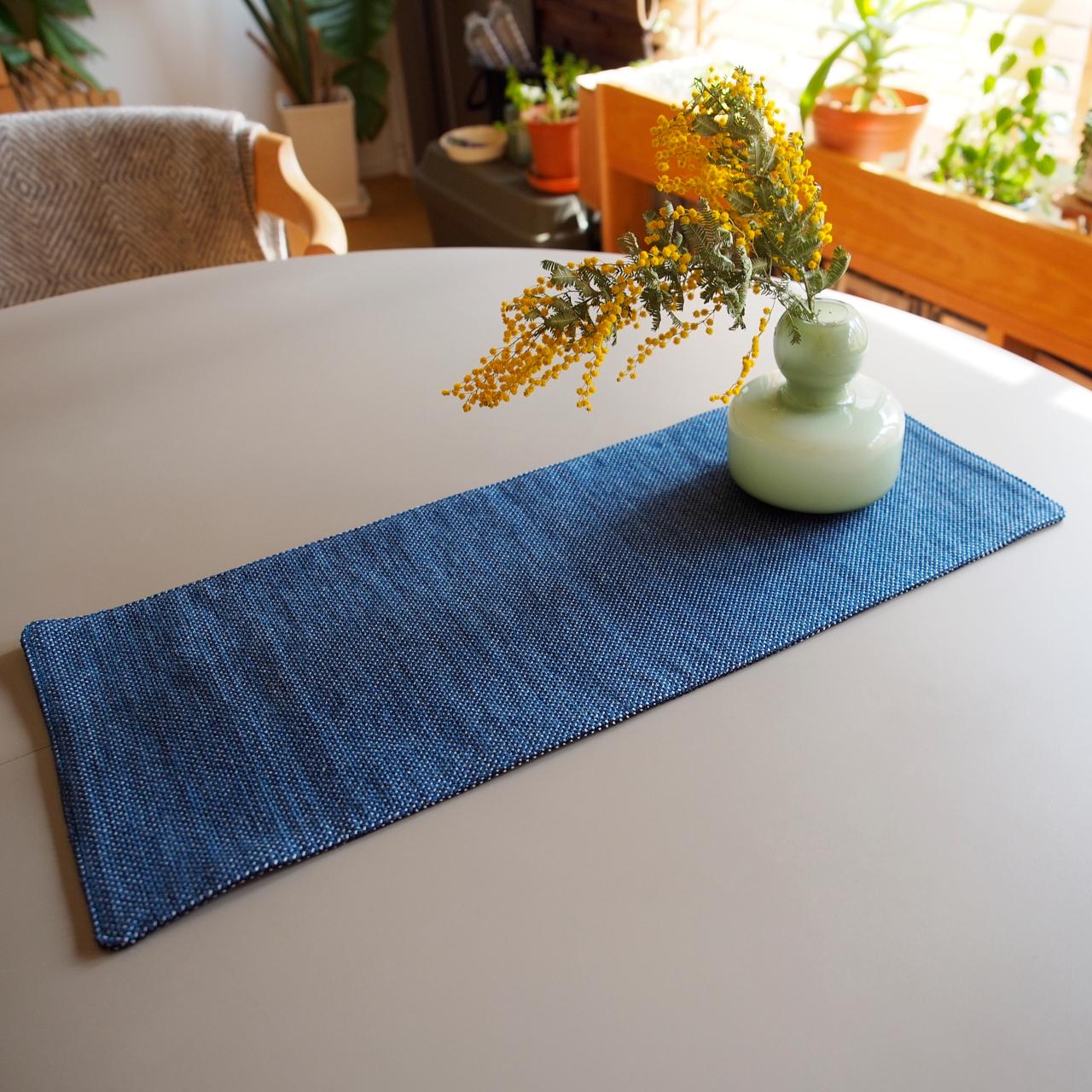 うしじま縫製   武州正藍染 テーブルランナー 長方形 一重刺子 リバーシブル