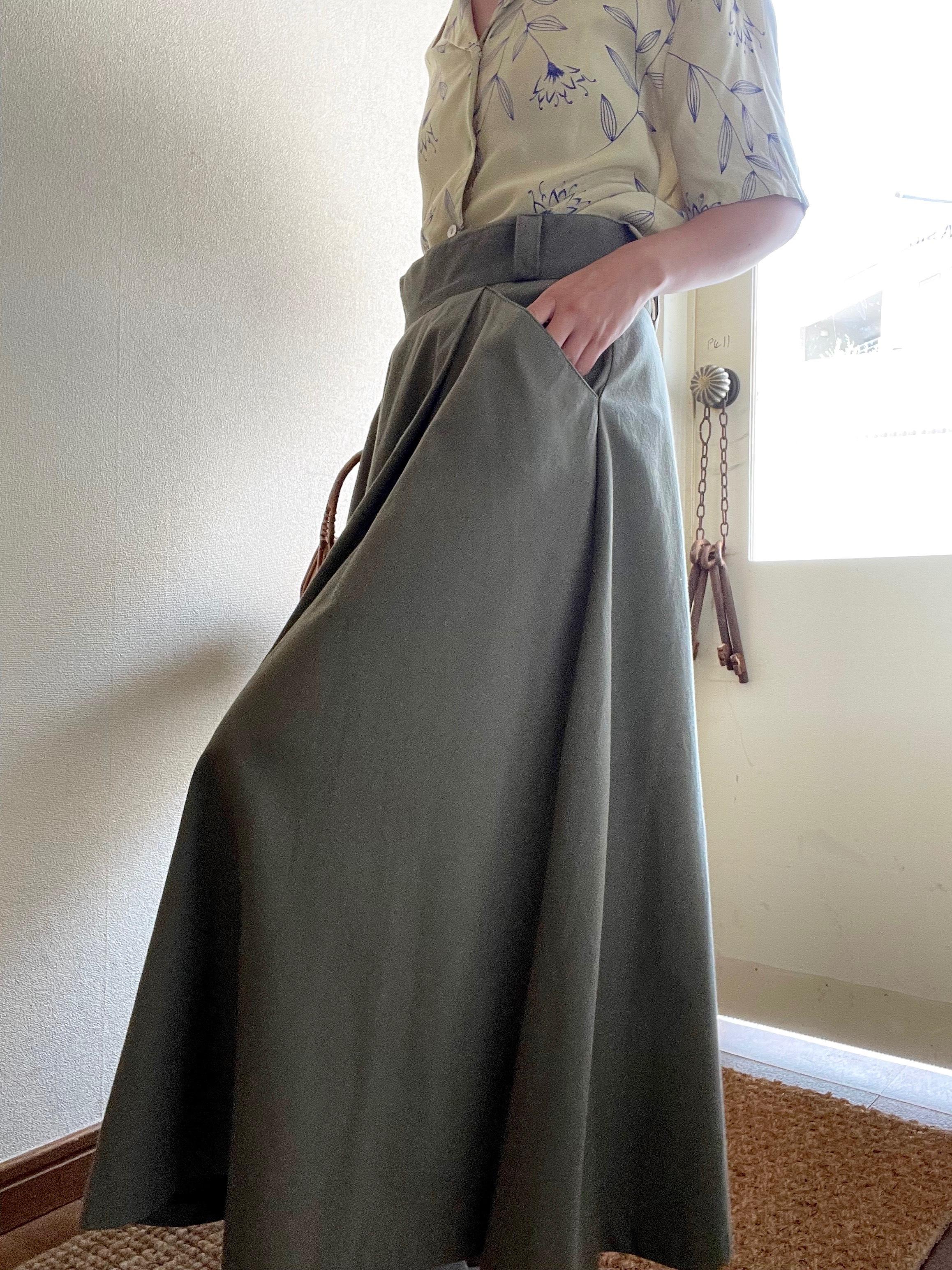 Khaki Flare Skirt