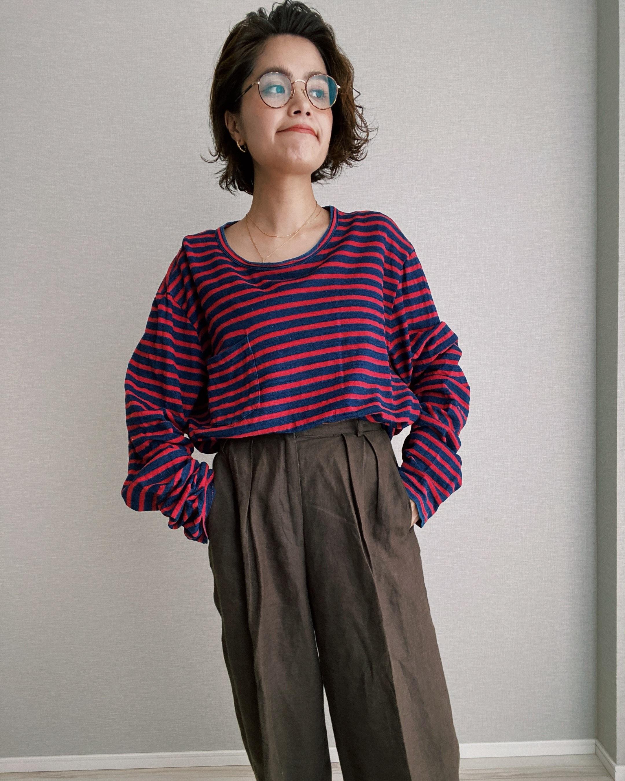(CS302)DOUBLE RL boreder long sleeve pocket T-shirt
