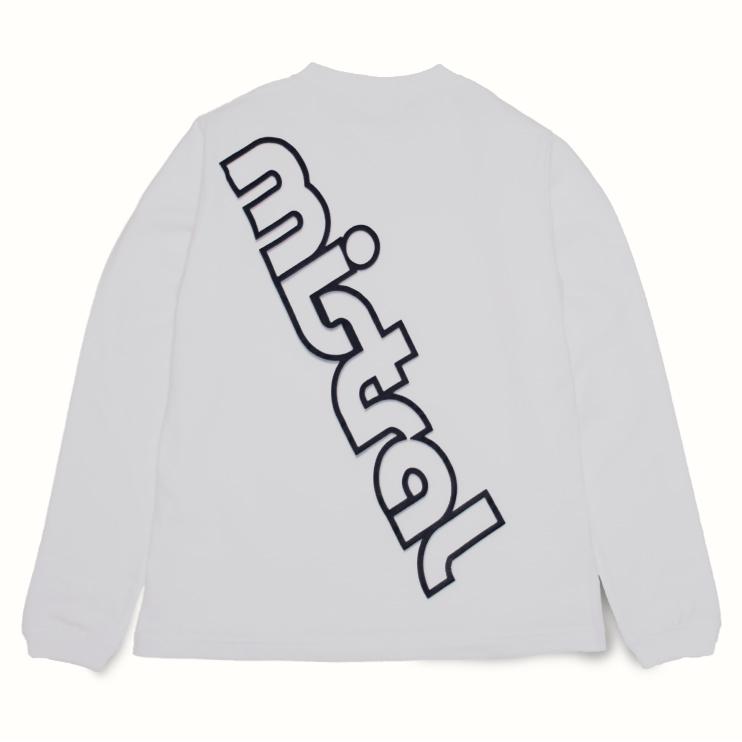 ミストラル ユニセックス【コットン長袖Tシャツ -ビッグロゴ-】WHITE