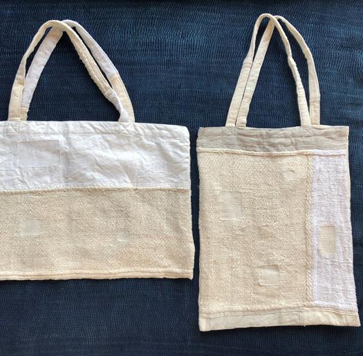 [白:横トート薄]インド 残り布のプロダクトBag