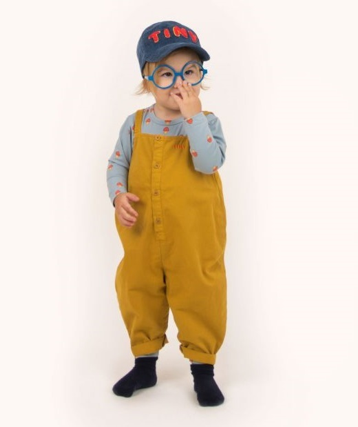 TINYCOTTONS タイニーコットンズ SOLID DUNGAREE color:mustard size:12M(80-90)