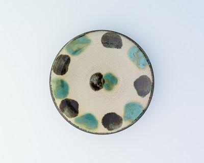 5寸皿(1枚焼)(緑呉須点打)
