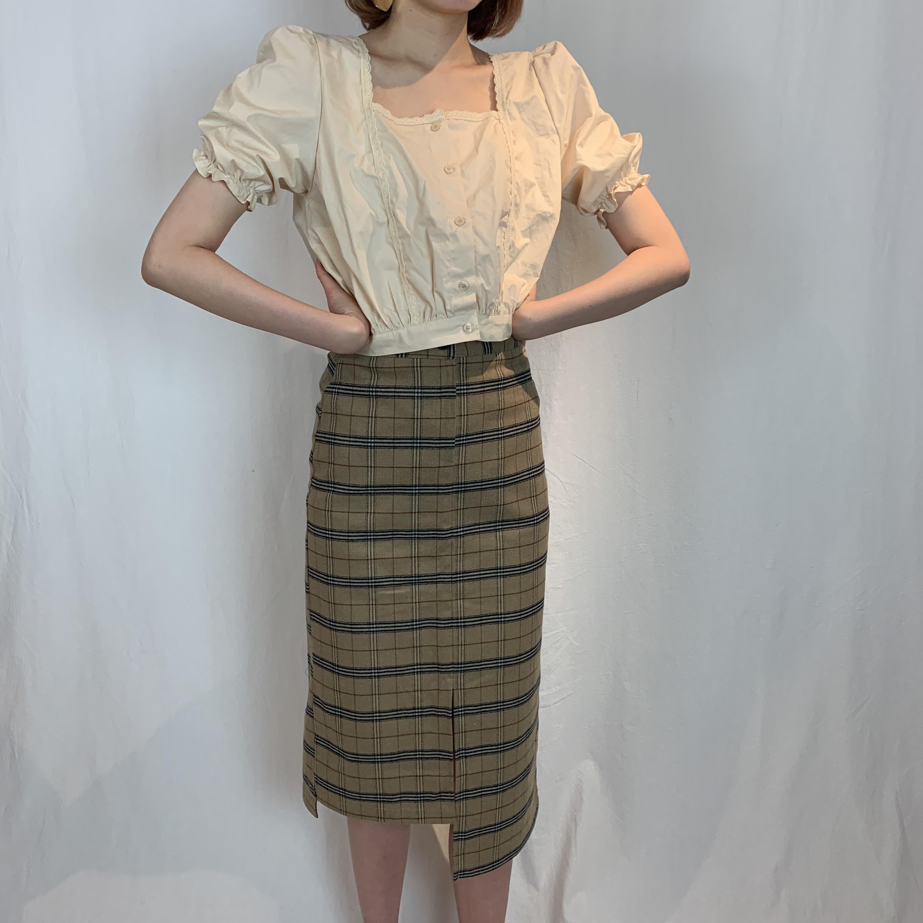 slit check long skirt (beige)