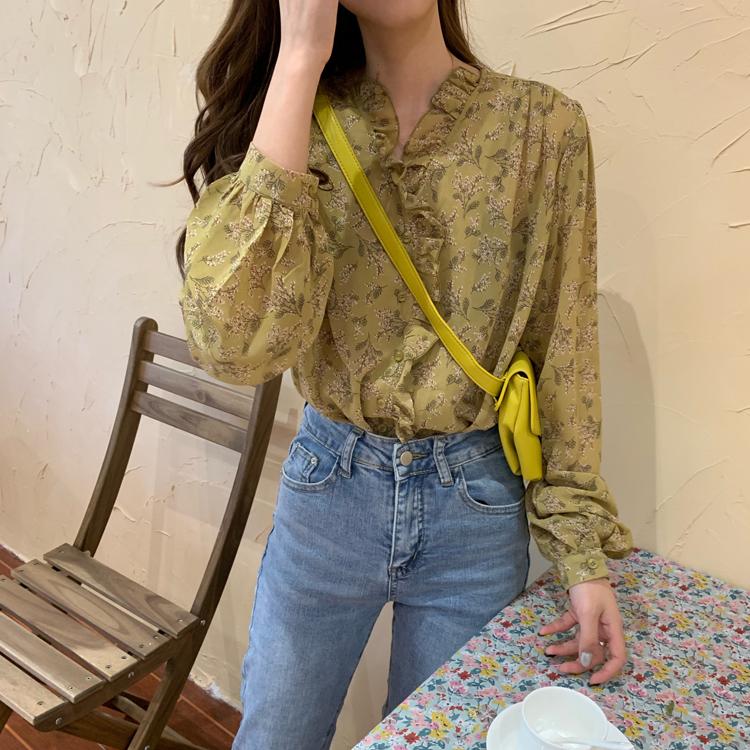 シフォン花柄ブラウス【chiffon flower blouse】