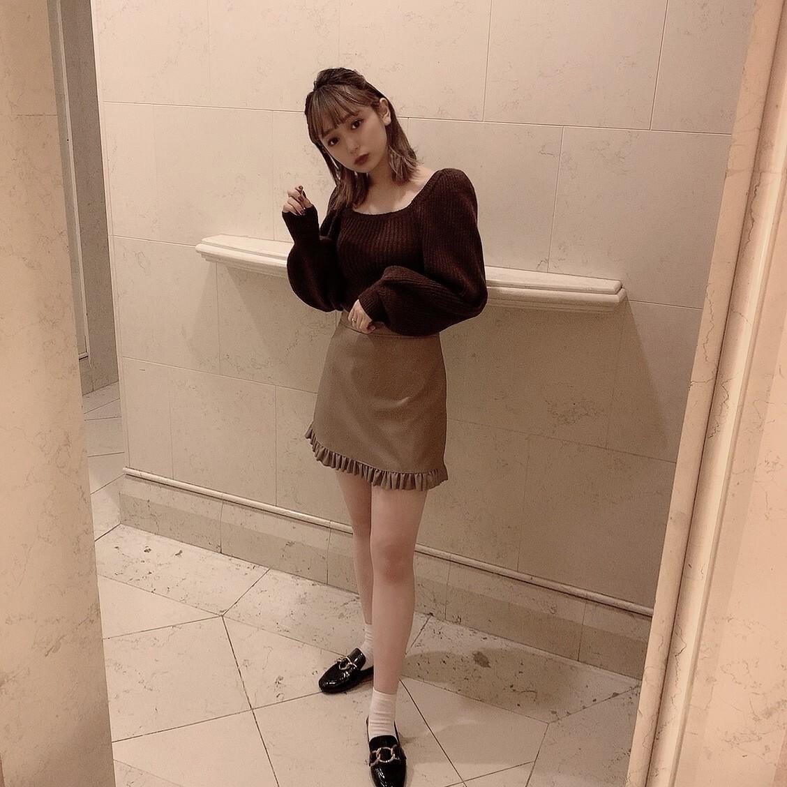 【meltie】frill leather skirt