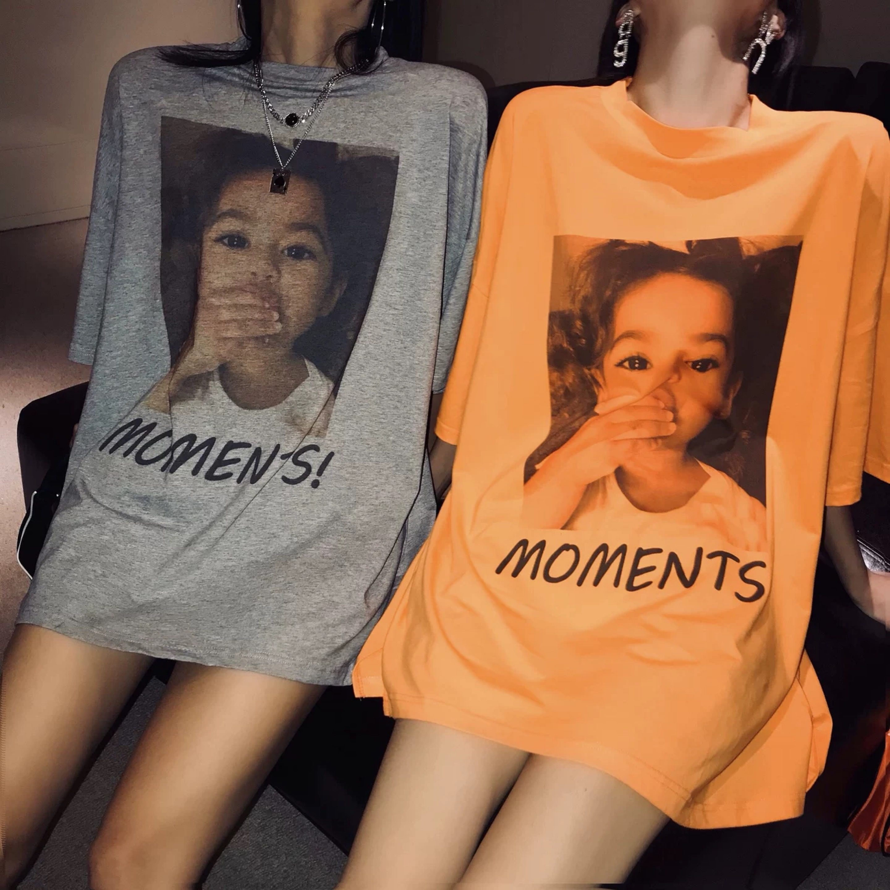 moments logo over t-shirt