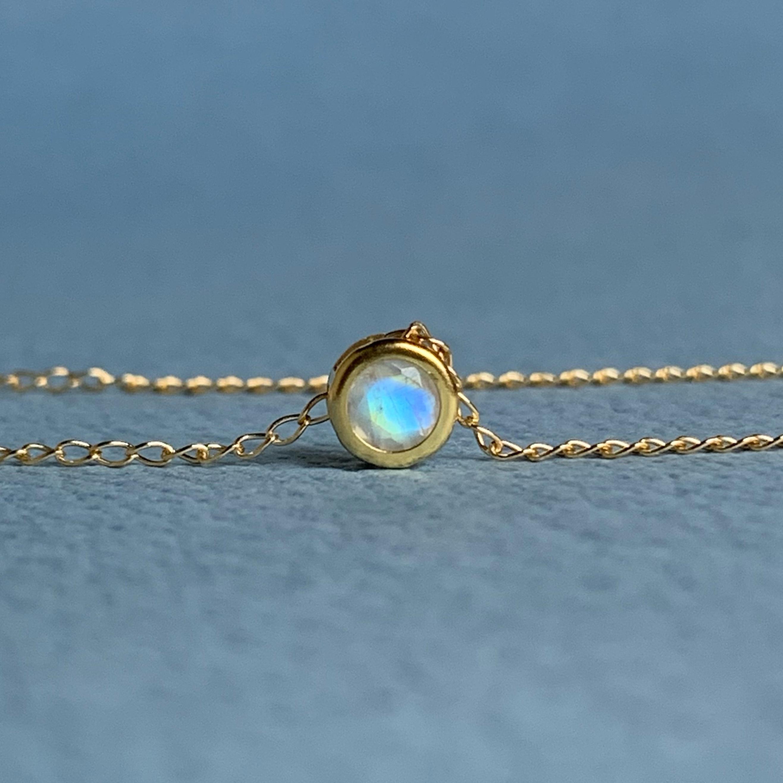 【JORIE】14kgf  レインボームーンストーン ベゼル necklace(4mm)