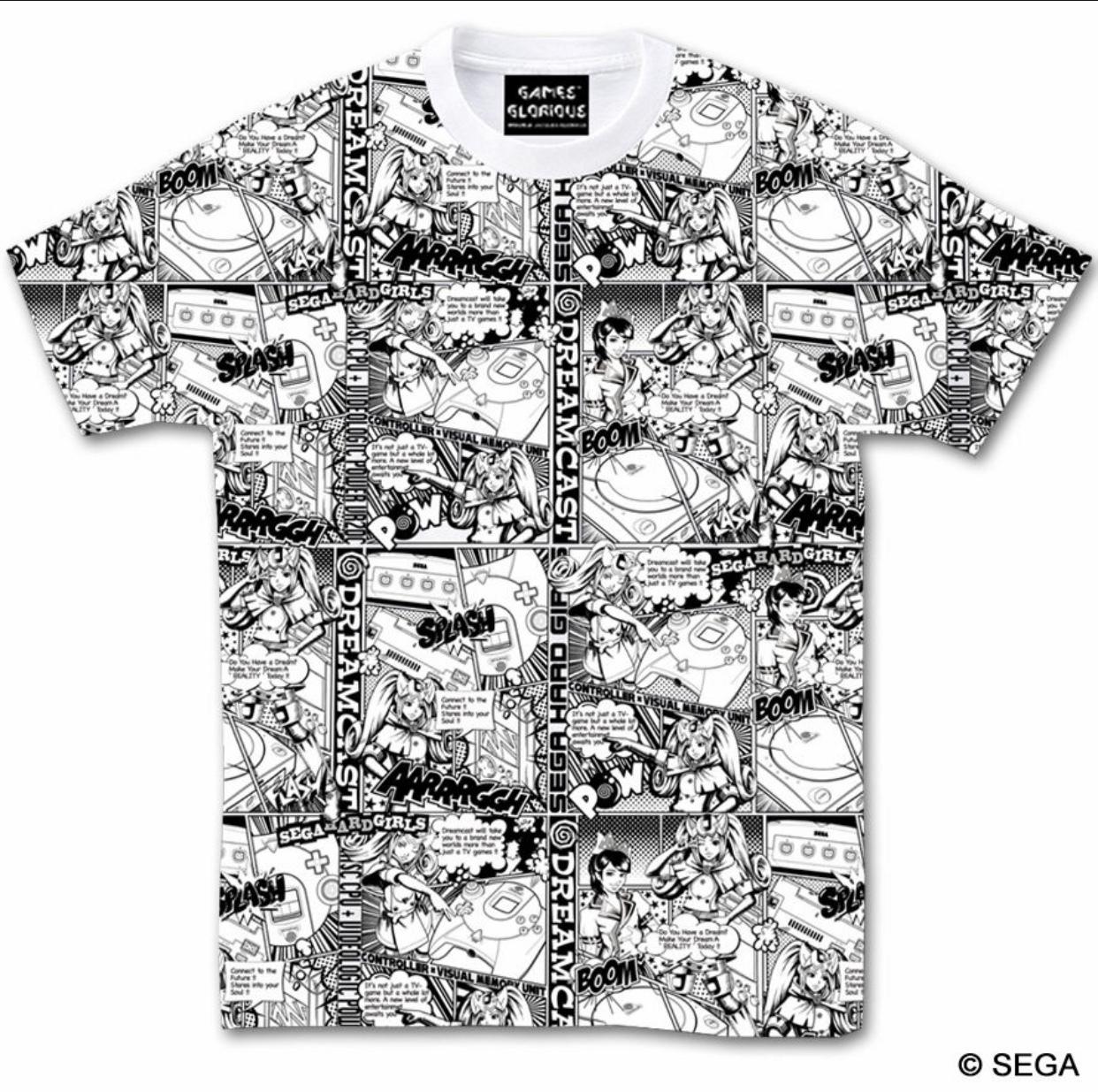 セガ・ハード・ガールズ x ドリームキャスト Comic`s Tシャツ -WHITE- / GAMES GLORIOUS
