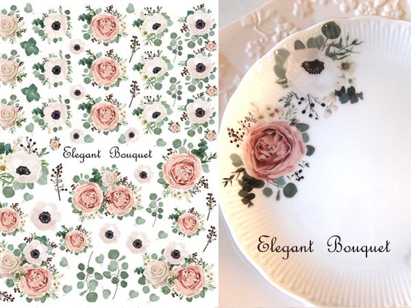 水彩エレガントブーケ転写紙 elegant bouquet  (ポーセラーツ花転写紙)