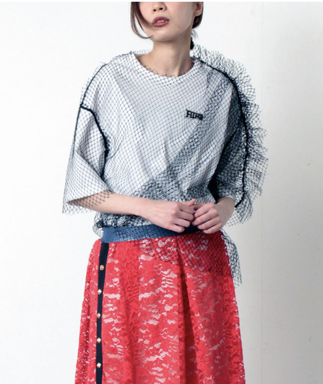 FLUMOR  Tulle layered pullover