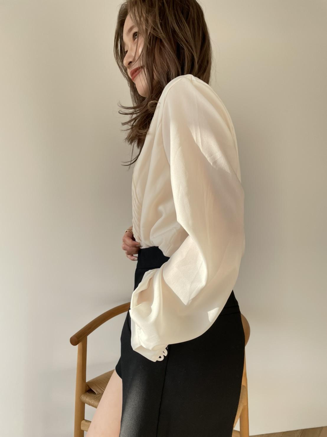pin tuck button blouse(2/17L-28)