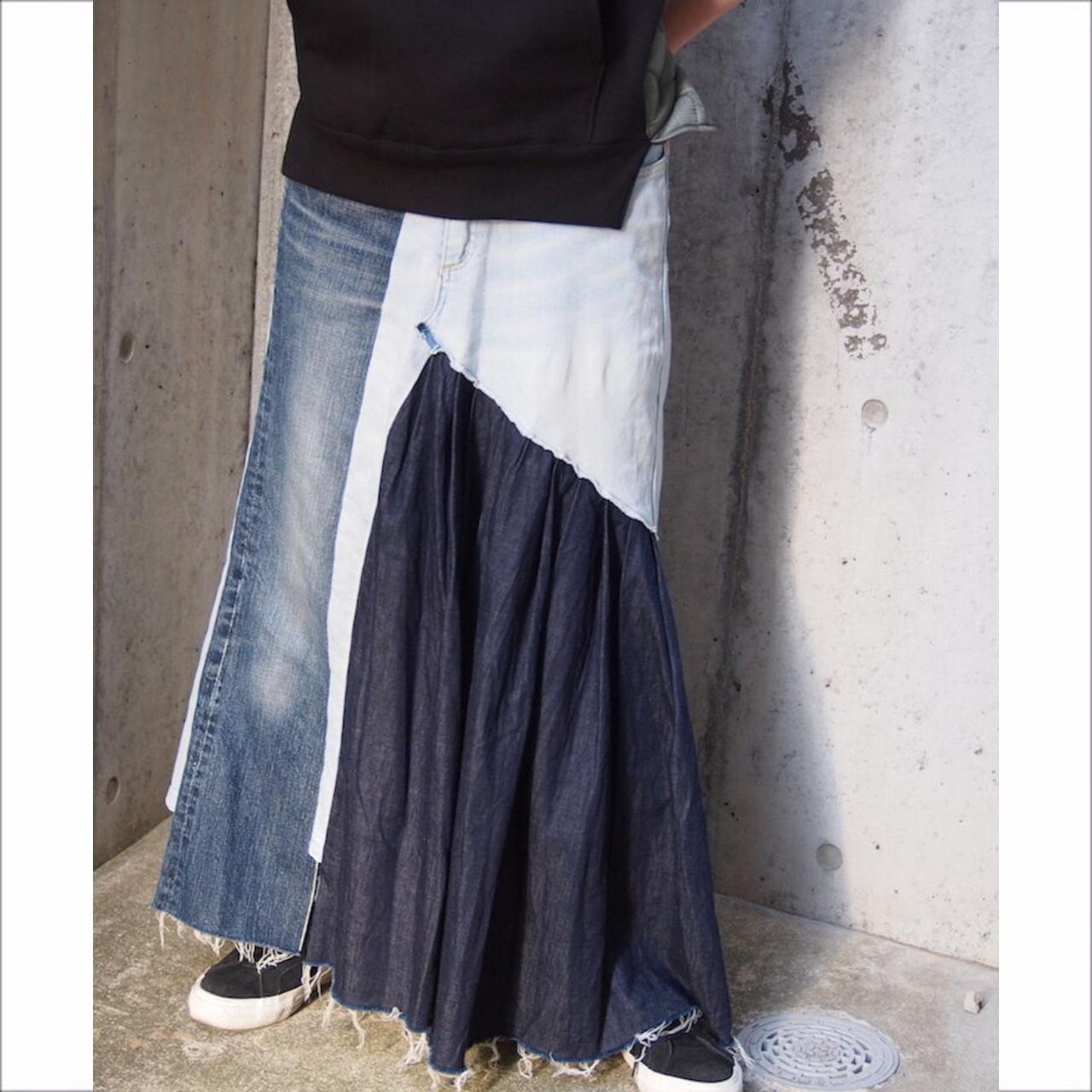 【sandglass】denim rebuild skirt/【サンドグラス】デニム リビルド スカート