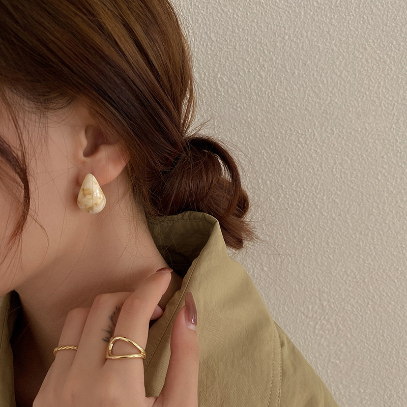 marble drop earring(4color)