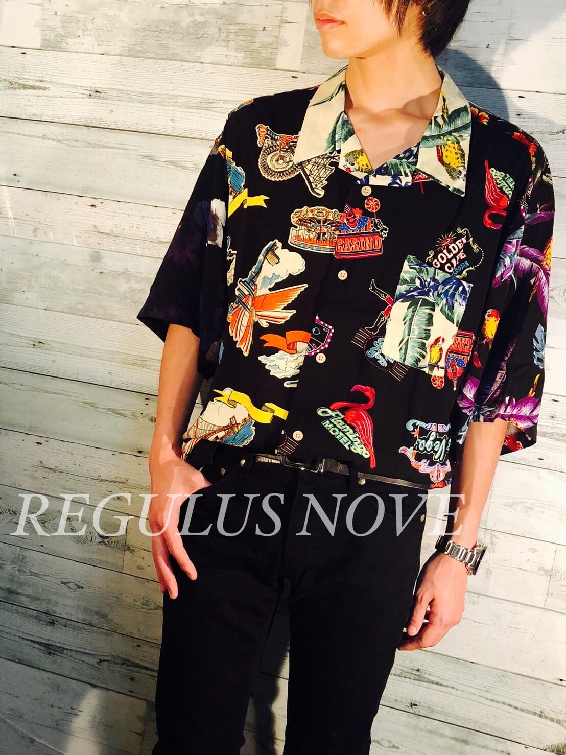 REGULUS NOVE BIGシルエットオープンカラーアロハシャツ CRAZY ユニセックス レディース メンズ オーバーサイズ 大きいサイズ 派手 個性的 開襟シャツ トレンド