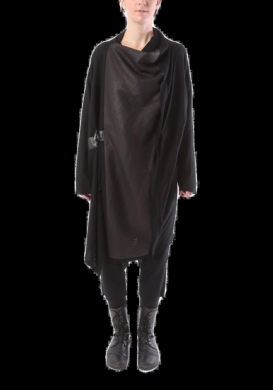 [受注生産][ 着るストール]レザー&ウール:COAT STOLE コートストール LEATHER&WOOL 2108 BLACK ミハイルギニスアオヤマ[登録意匠][MADE IN JAPAN][税/送料込み]