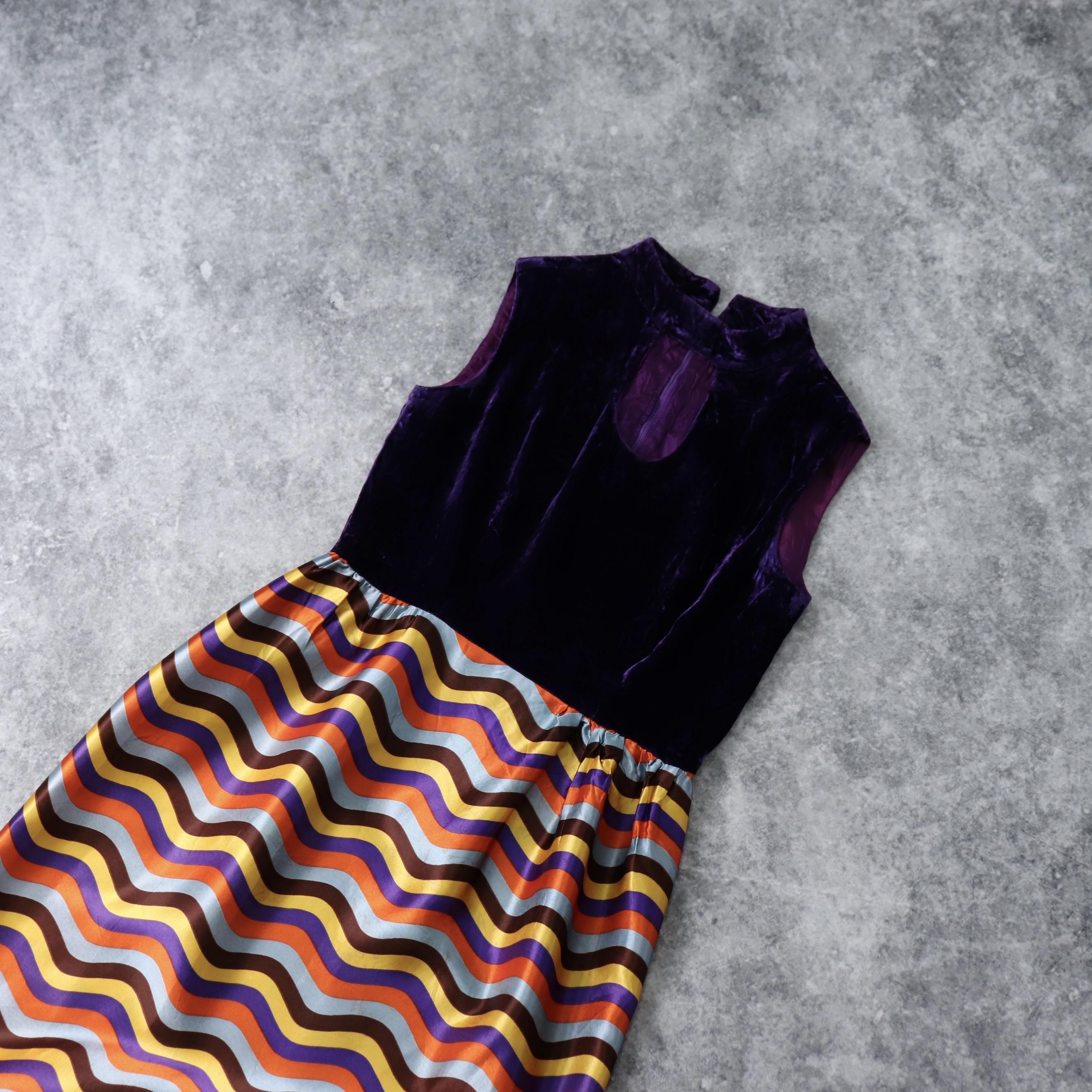 70年代 ヴィンテージ アメリカ製 古着 ベルベット サテン ウェーブ柄 切り替え マキシ丈 ワンピース 70's Vintage  USA Velvet Wave pattern Dress