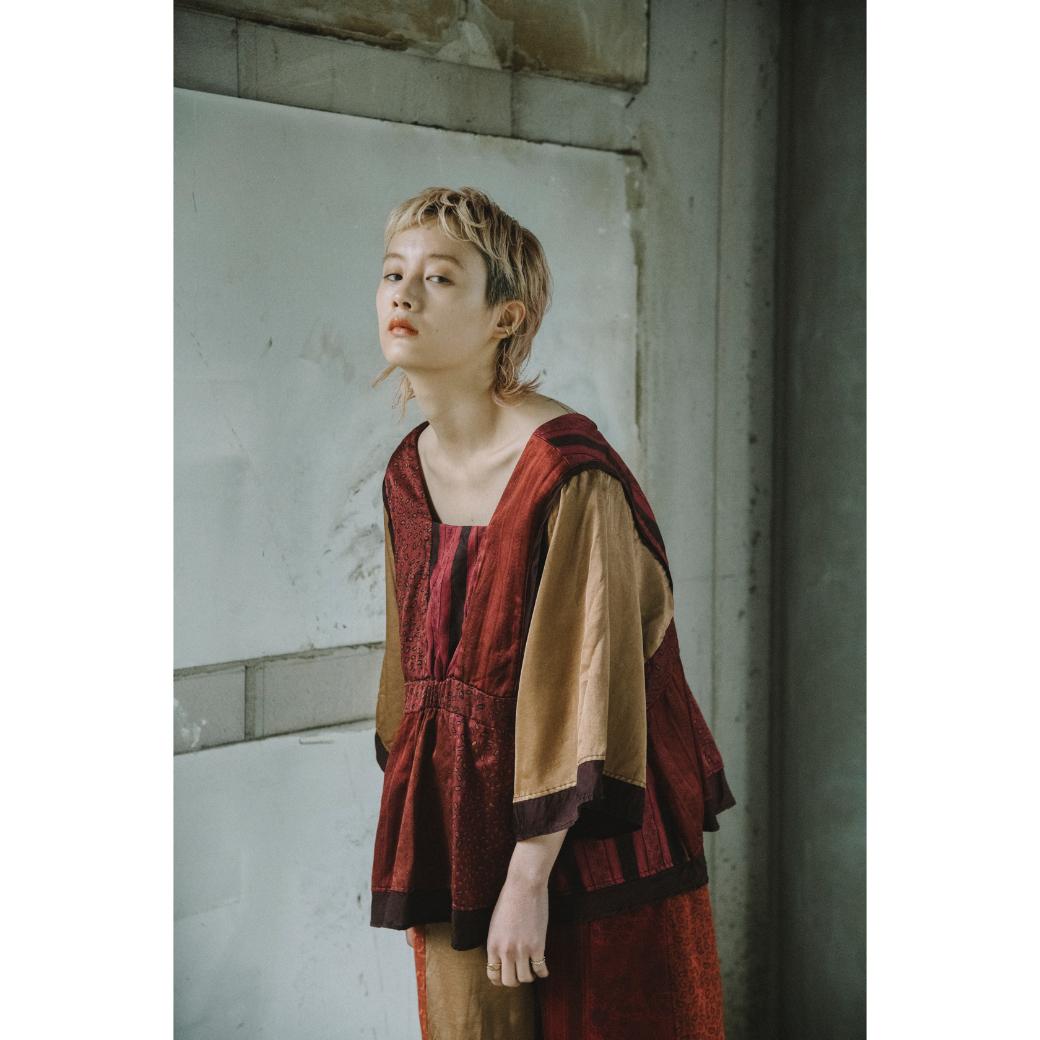 【RehersalL】 pajamas patch square neck blouse(sunset) /【リハーズオール】パジャマ パッチスクエアネックブラウス(サンセット)
