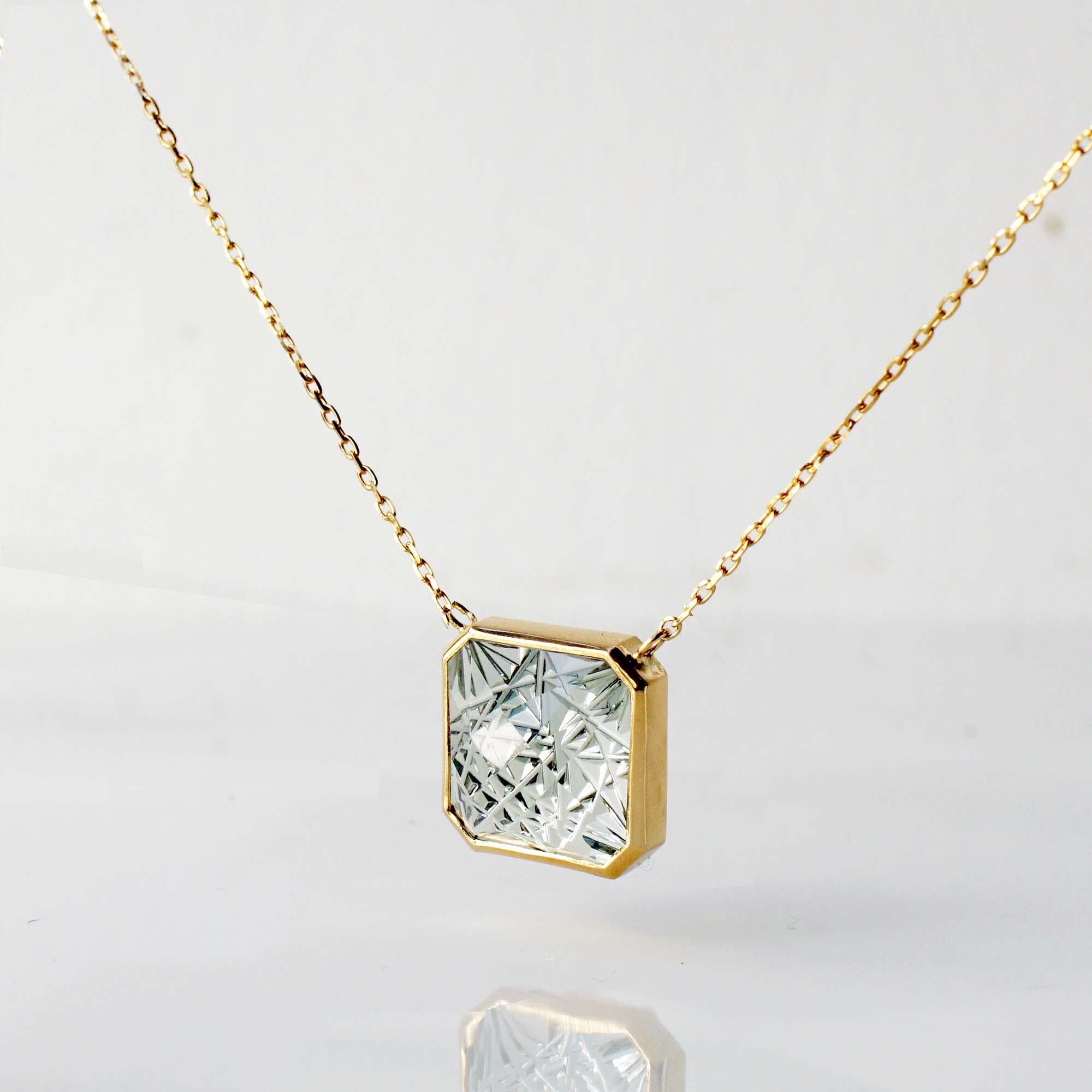 Green Quartz KIRIKO Necklace (Square10 / N120-GQ)