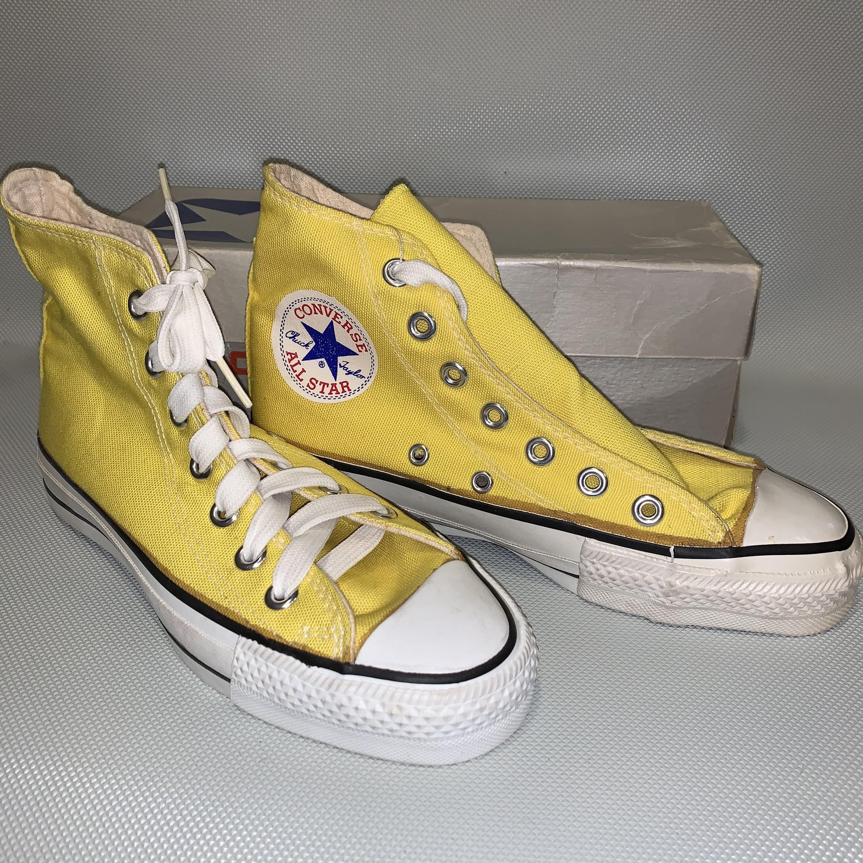 80's CONVERSE ALL STAR /Boy's Hi 4/ Yellow Canvas  Dead Stock