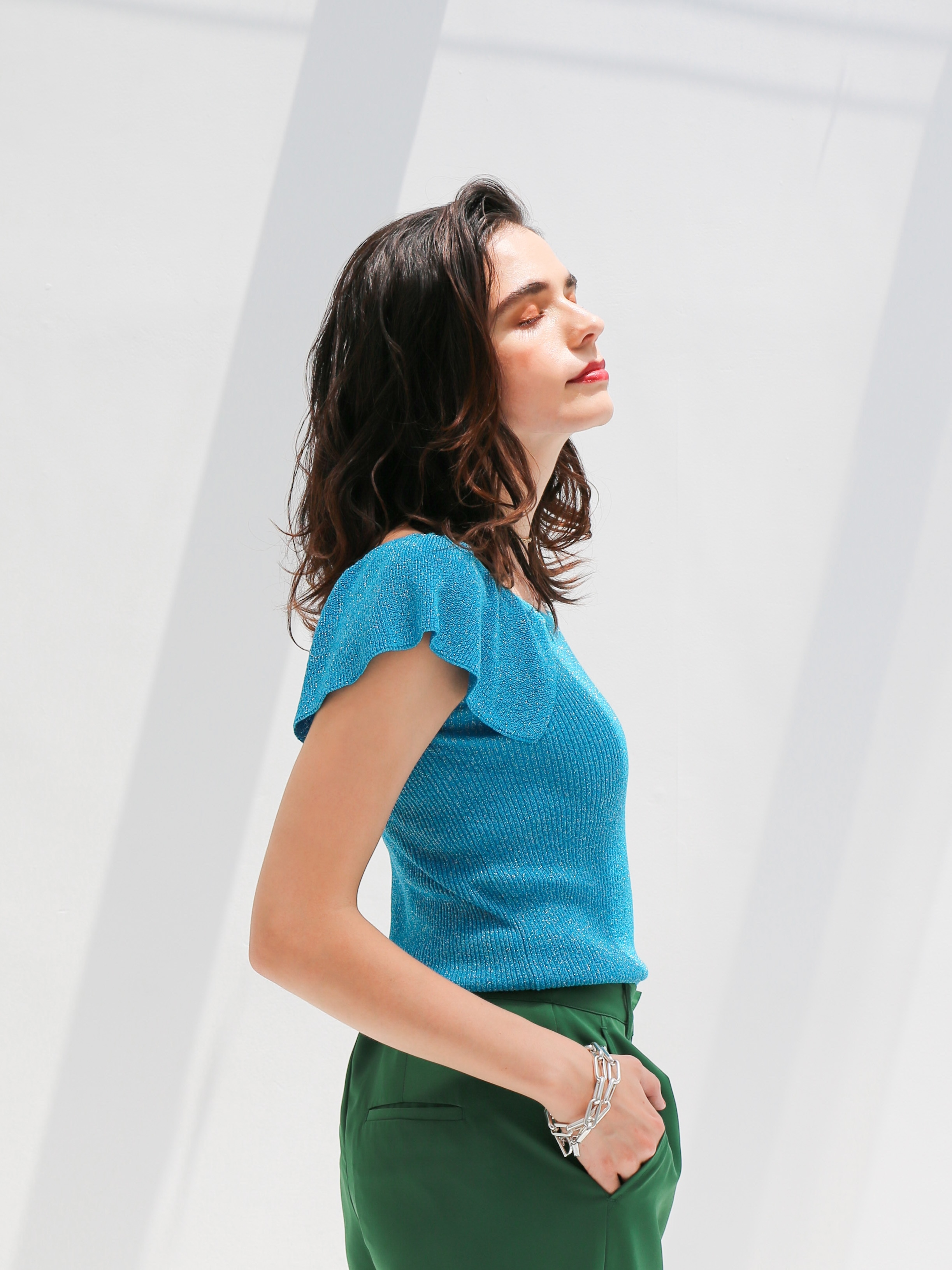 glitter frill knit(turquoise)