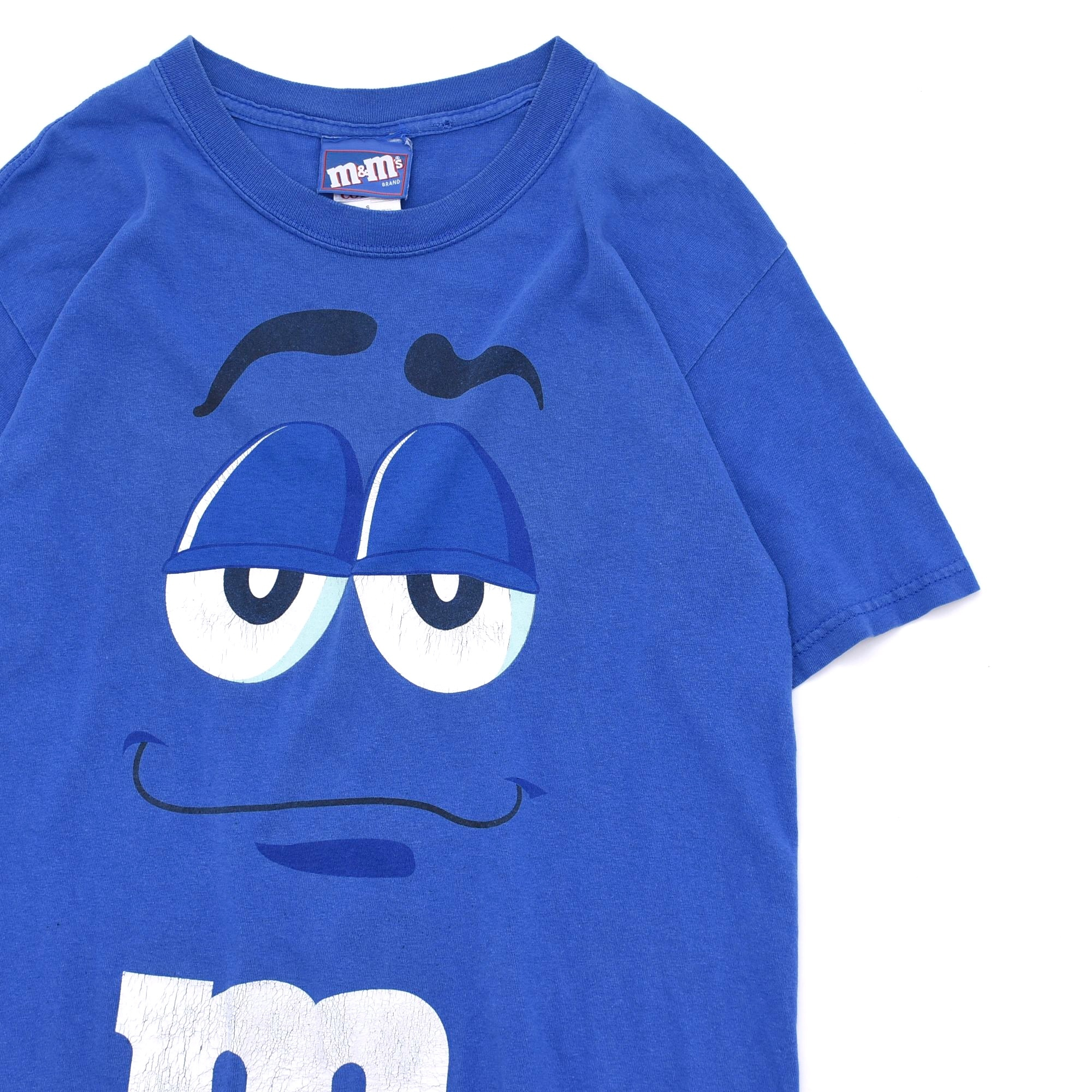 00's m&m's BLULE face print T-shirt Made in MEXICO