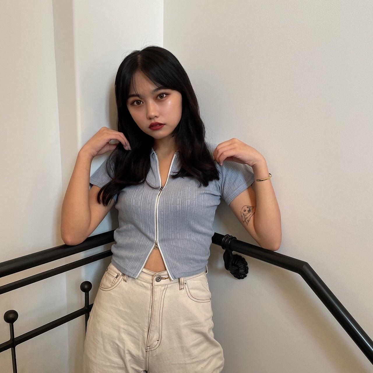 【Belle】front zip tops / blue