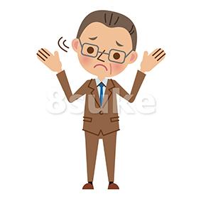 イラスト素材:困った表情の中年のビジネスマン(ベクター・JPG)