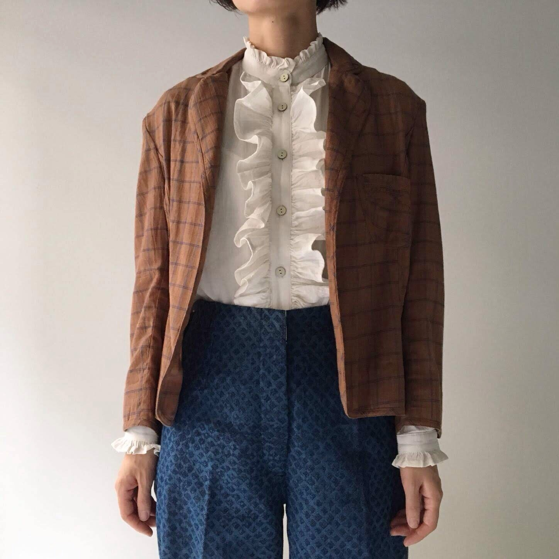 "Waist shape jacket ""brown check"""