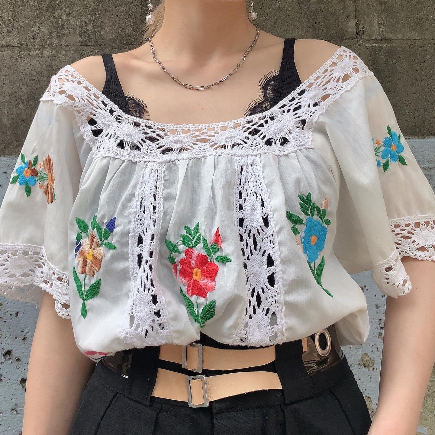 handmade vintage embroidery cotton blouse