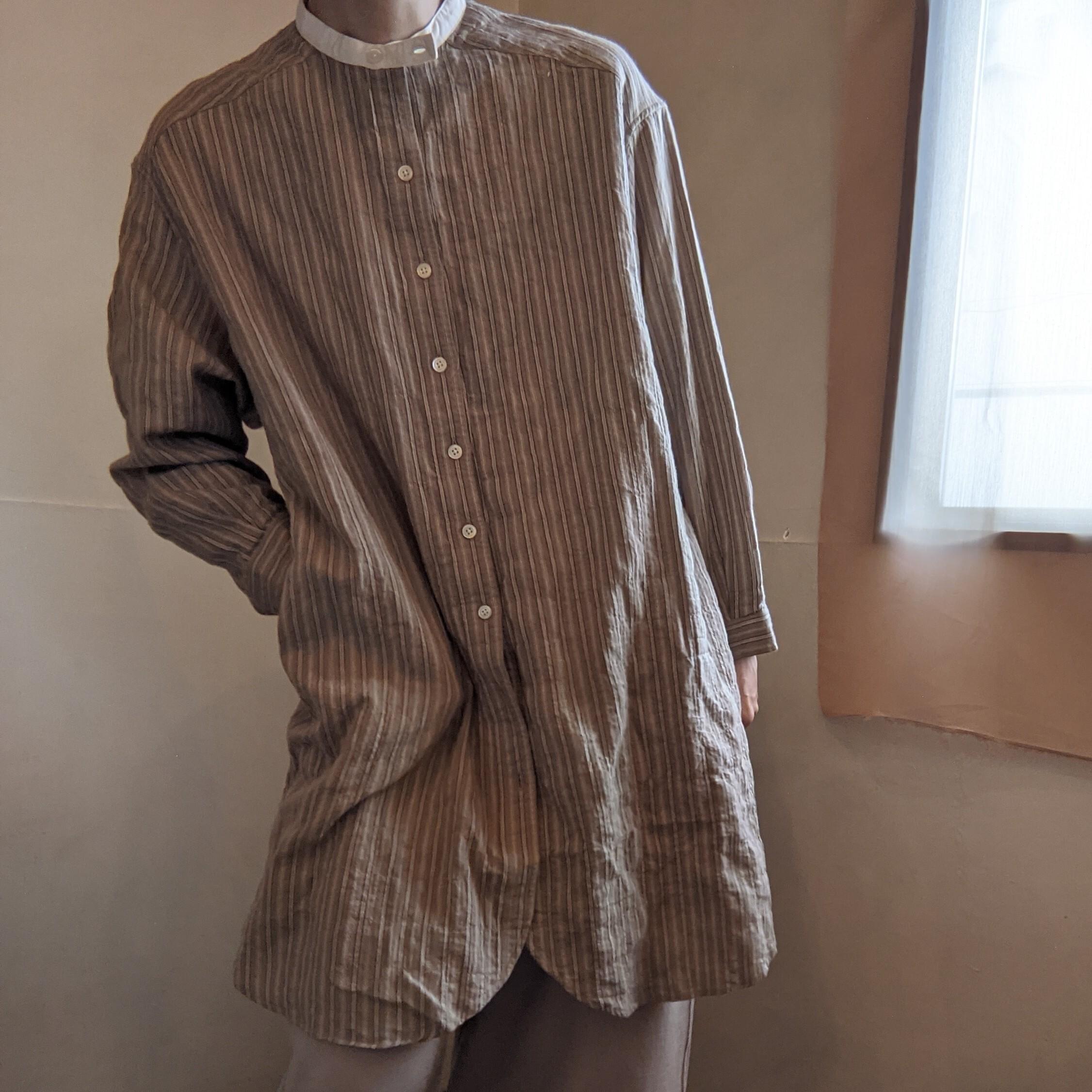 【 DanaFaneuil 】ダナファヌル / ヘリンボンシャーリングストライプ  ロングシャツ / スタンドカラー
