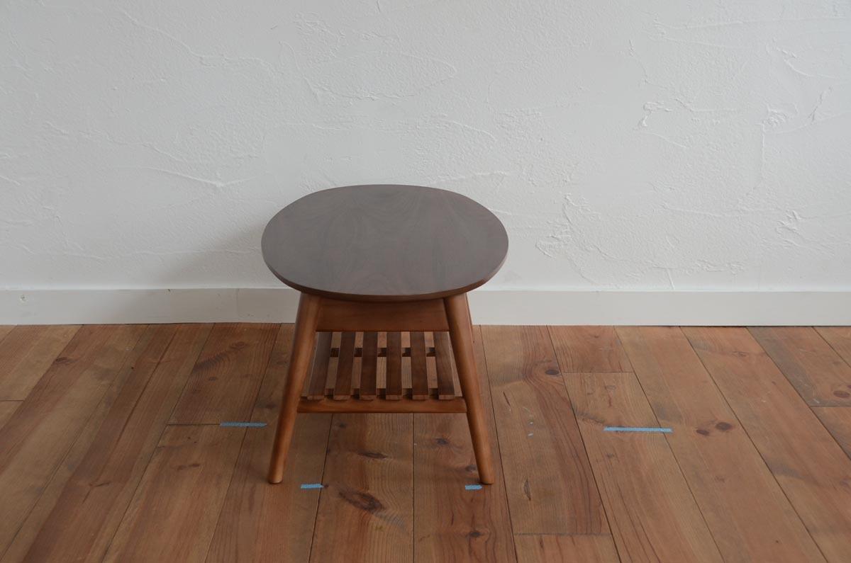 Oval / Walnut Folder Low Table / 北欧アンティークスタイル オーバル ウォールナット 折り畳みローテーブル