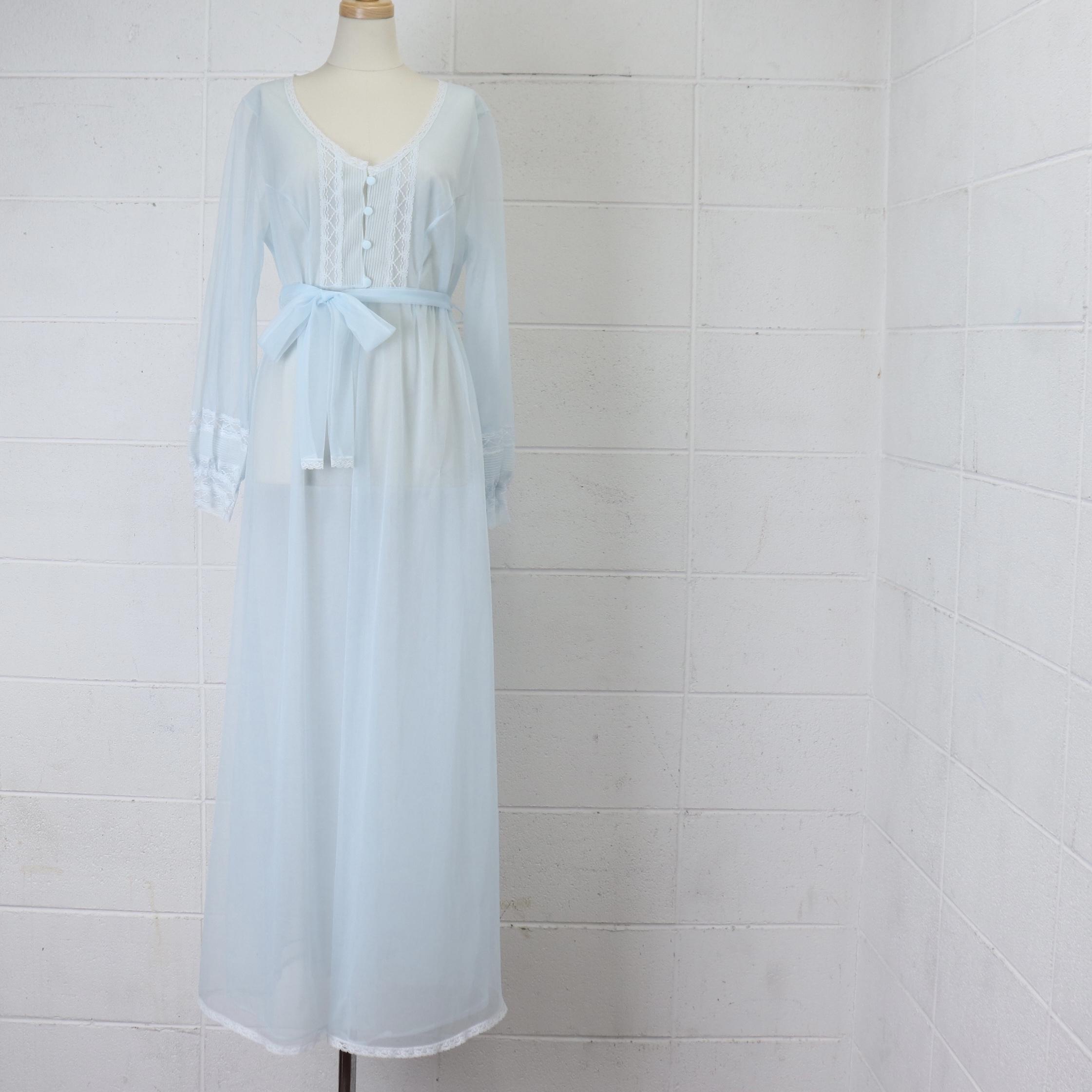 """レディース 60年代 USA製""""Sears"""" シアーズ ヴィンテージ ネグリジェ ランジェリー  レース シースルー シフォン  アメリカ古着 ライトブルー 36 60's Usa  Vintage negligee lingerie Dress"""