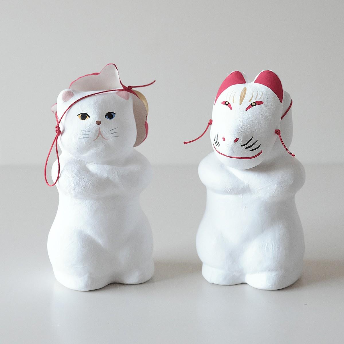 張子「猫にお面」立