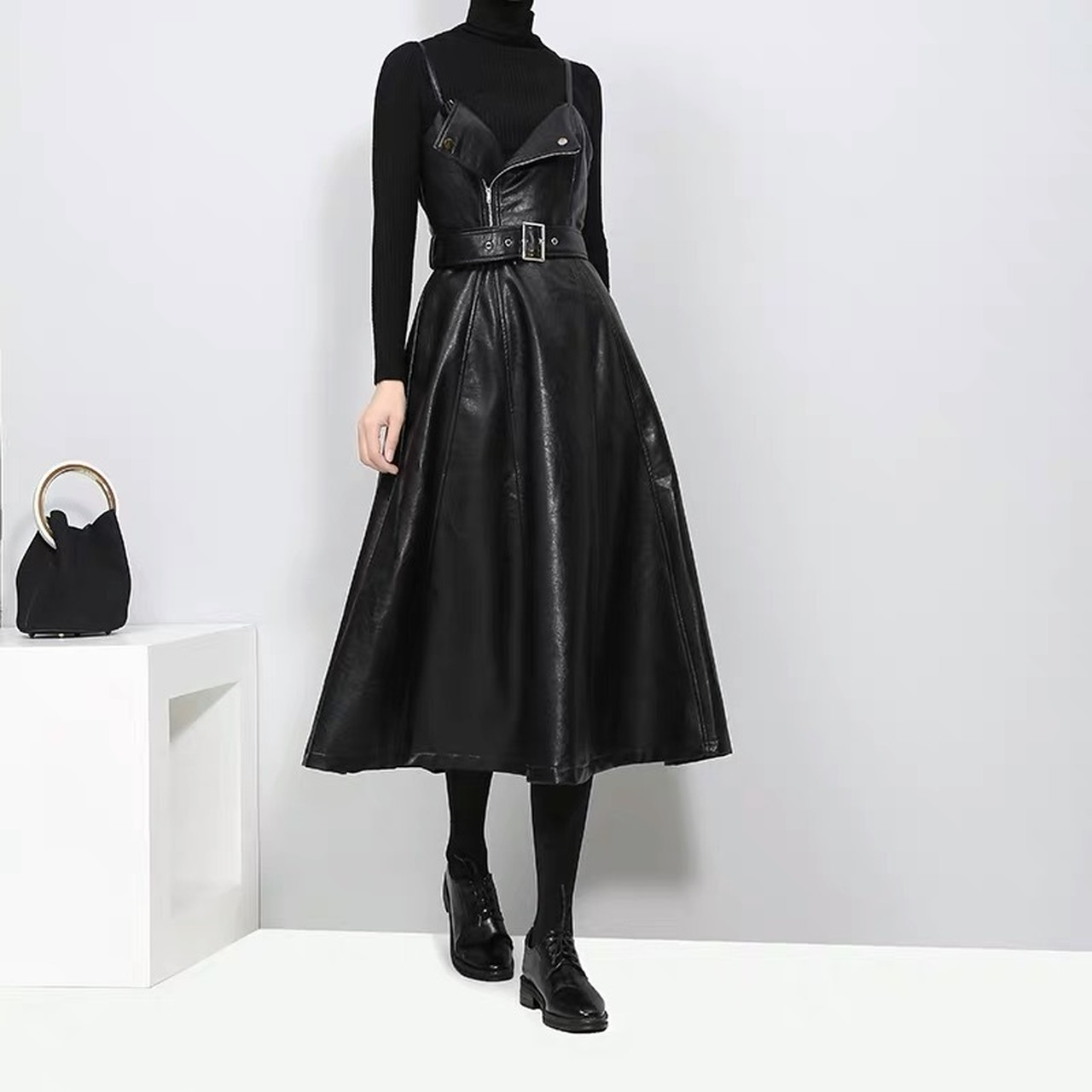 leather flare long skirt