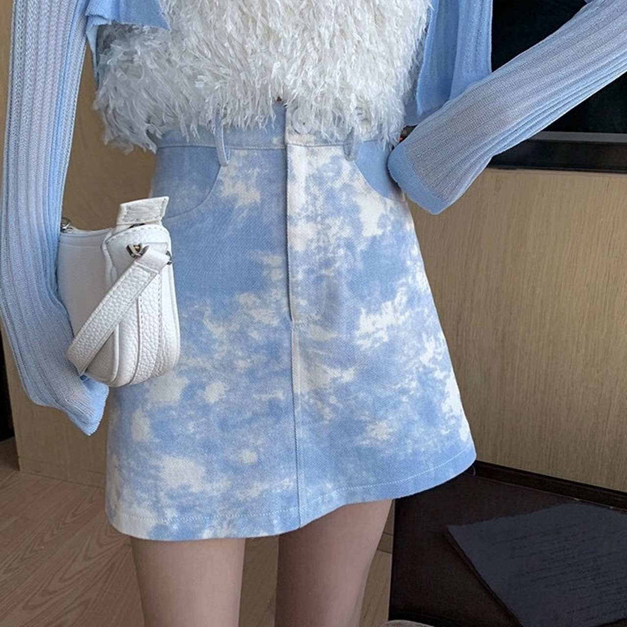 marble color a-line skirt