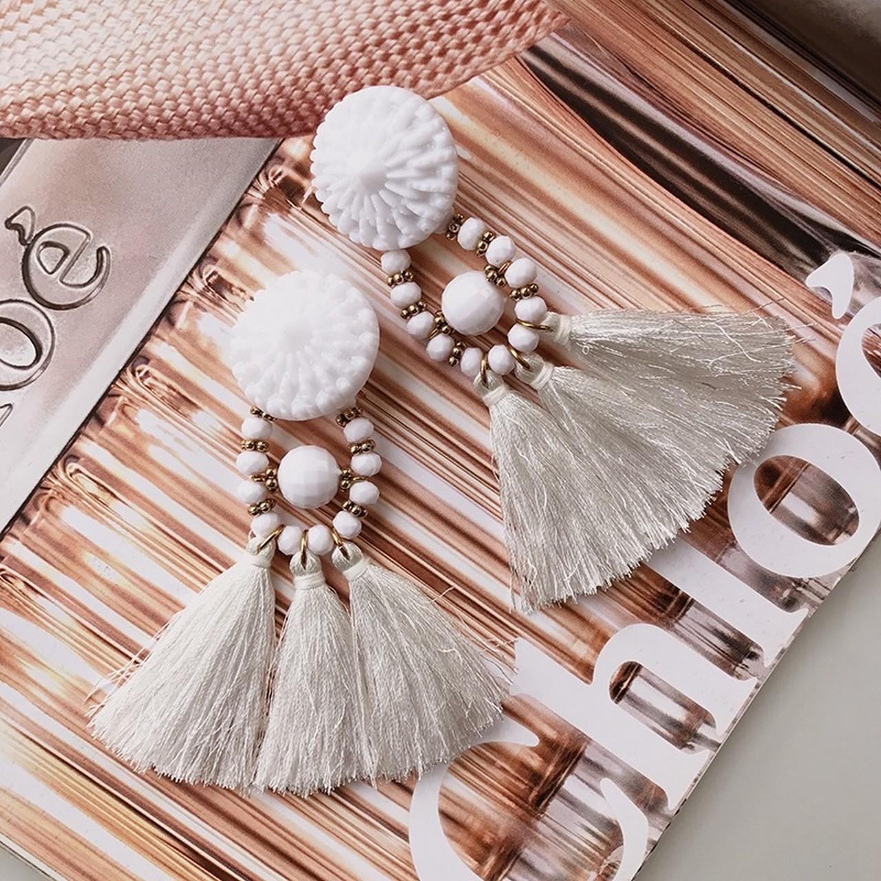 【即納】big fringe earrings