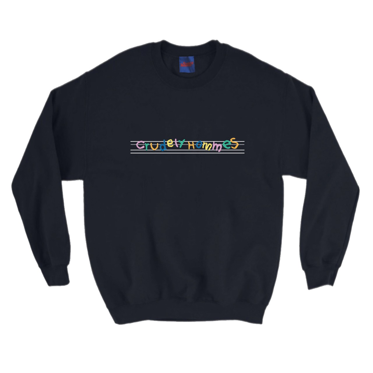 【Crudely Hommes】English Note Rainbow Logo Crew-Neck Sweat