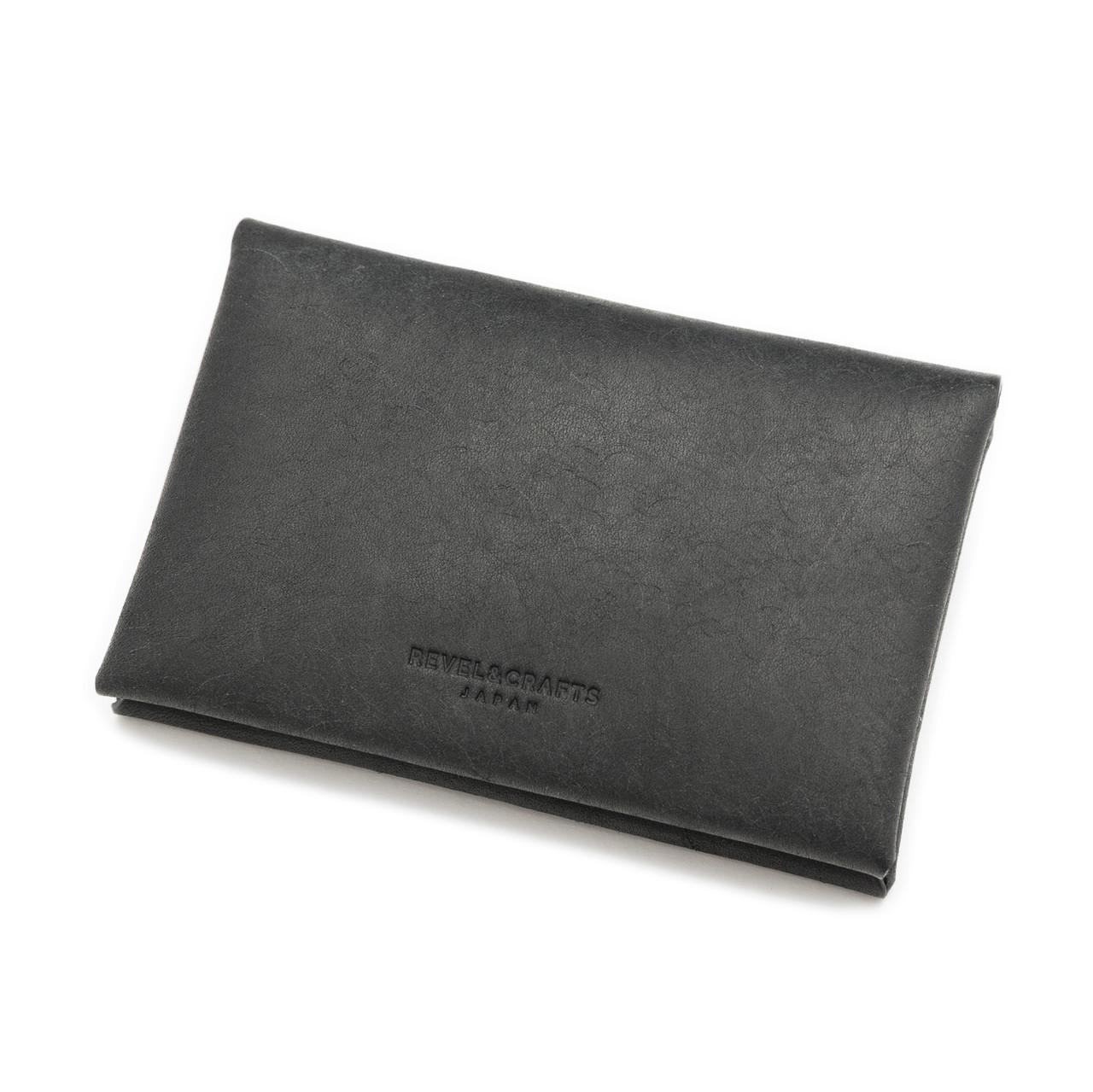 [限定]折革薄型名刺入れカードケース-イタリアンスクラッチ ダスティブラック