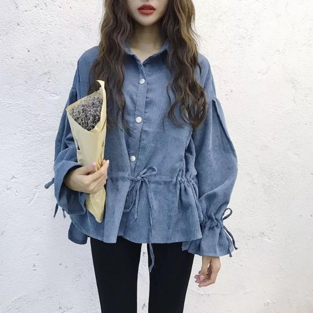 【即納】pattern lapel long sleeve shirt