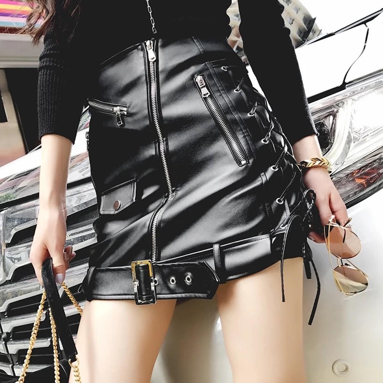 【即納】side ribbon leather skirt