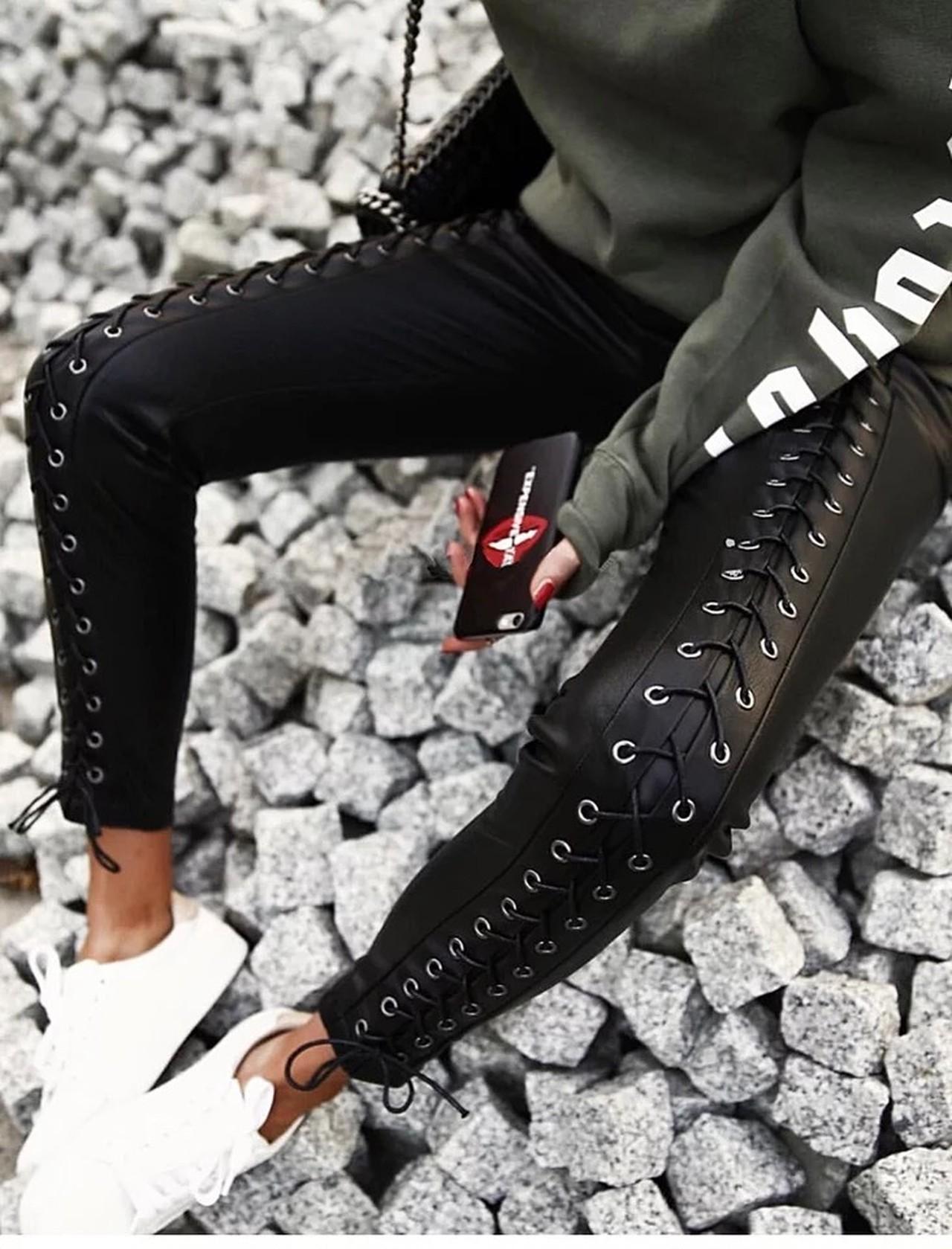 【即納】ribbon leather pants