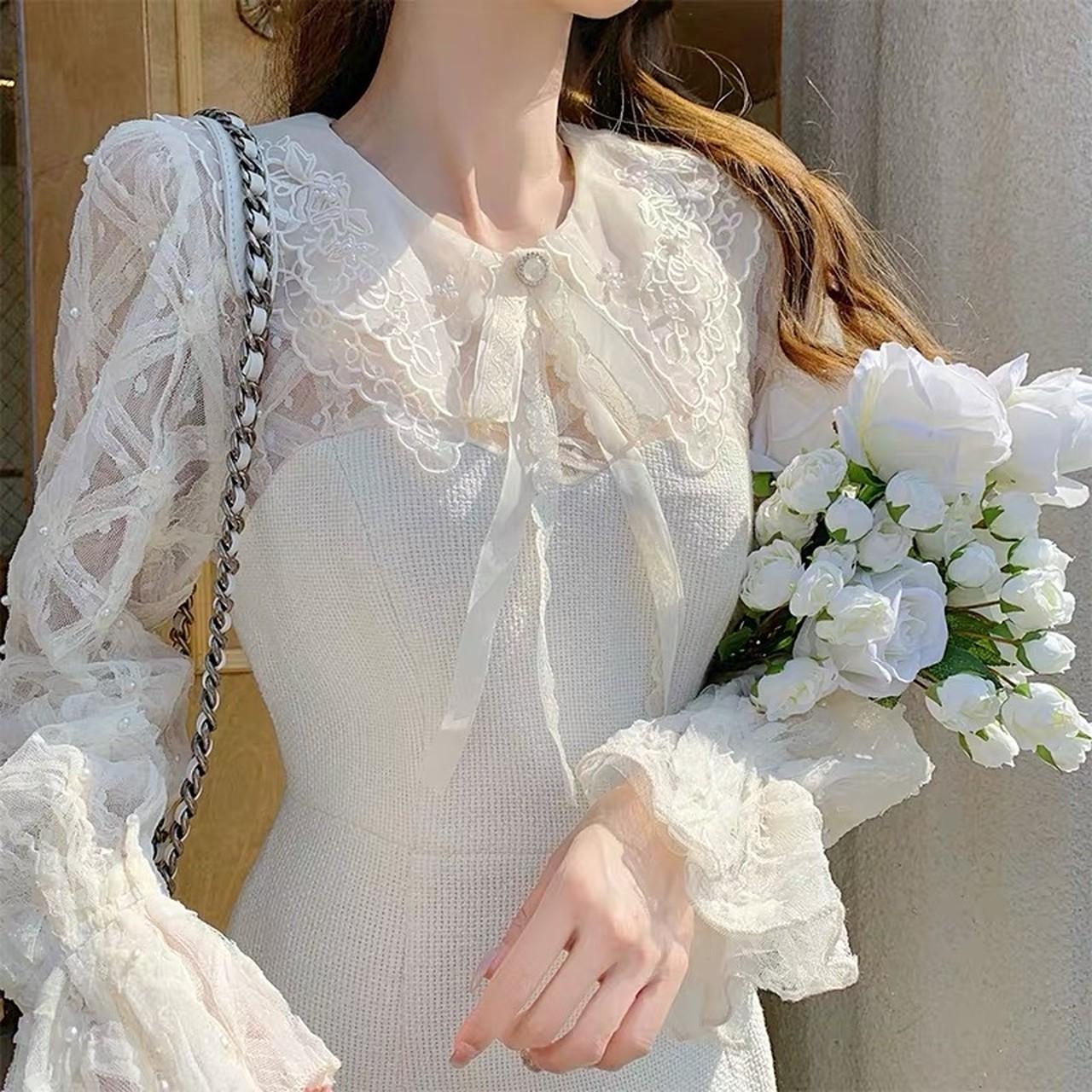 【即納】different material dress